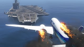 787 Dreamliner Emergency Landing On Aircraft Carrier After Engines Explode GTA 5