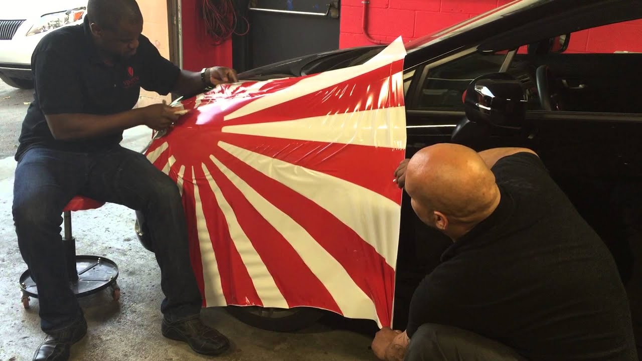 Auto Vinyl Wrap >> Veneton Auto Solutions Custom Vinyl Wrap Japanese Rising Sun!! - YouTube