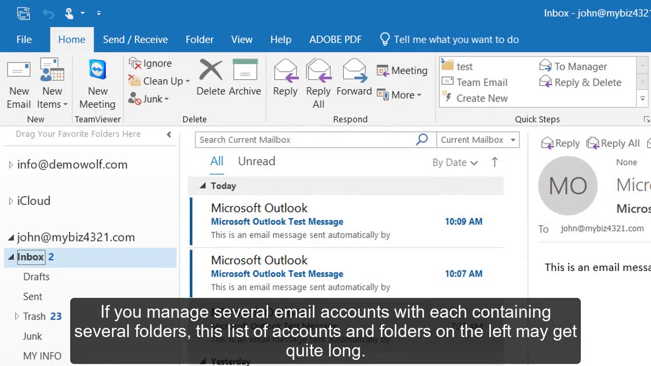 How to set up favorite folders in Outlook 2016?