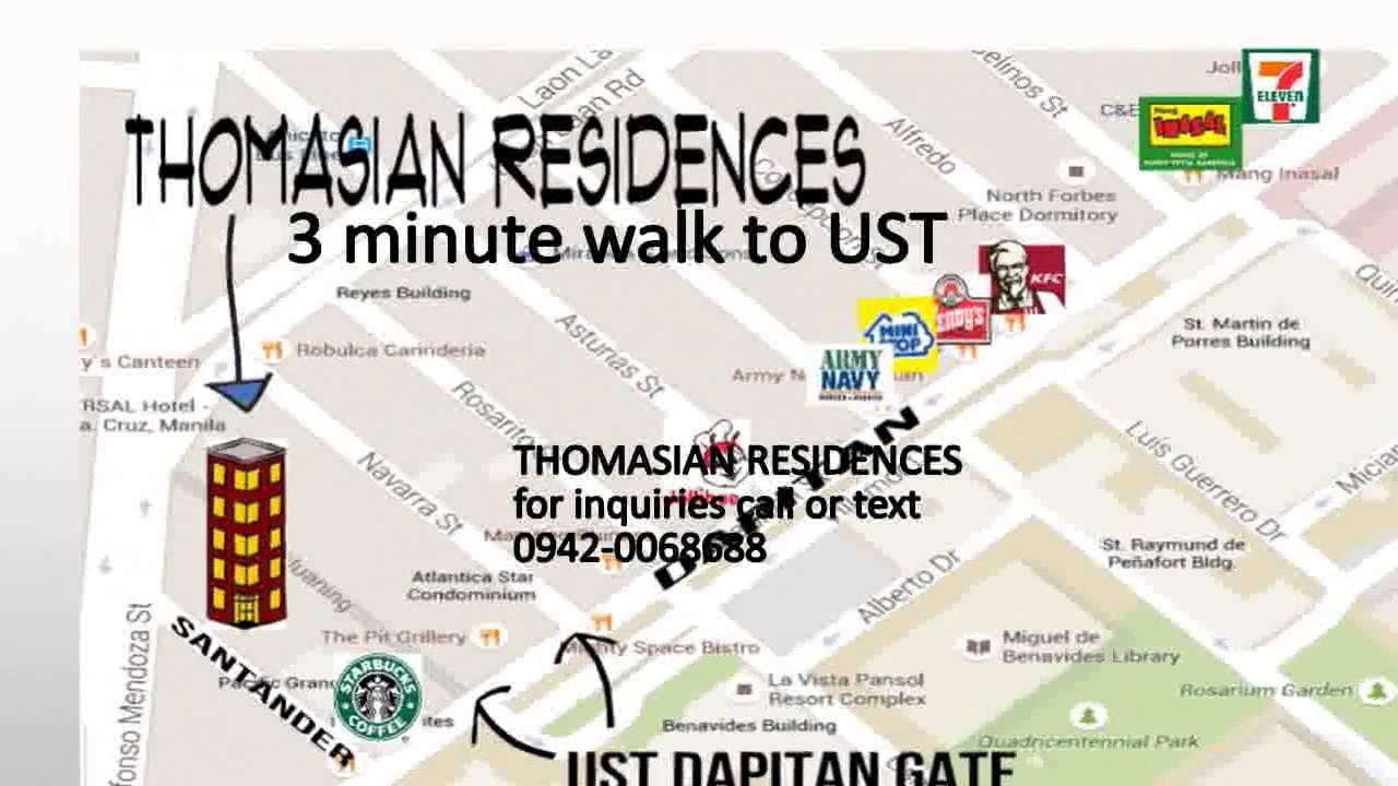 Dormitory Near Ust For Rent Dorm In Manila Near Ust YouTube - Location map ust