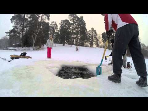Winter Swim Experiment with getting ice hole larger in Latvia, minus 8 Celsium