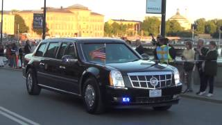 Mr President Barack Obama on his way to Swedish Prime minister Fredrik Reinfeldt for dinner 9/4/2013