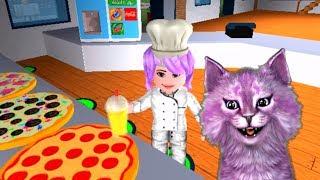 ПИЦЦА в ROBLOX #2 ГОТОВИМ ПИЦЦУ своя пиццерия говорящая КОШКА ЛАНА играет детский летсплей