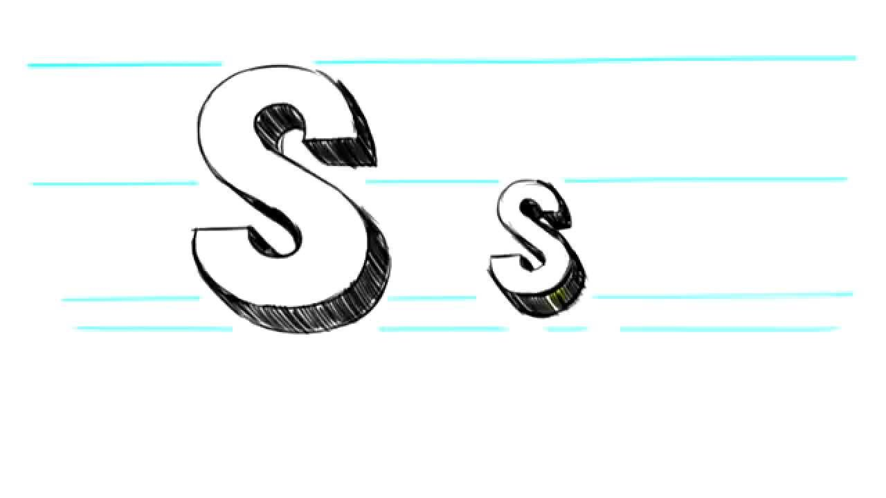 How to Draw 3D Letters S   Uppercase S and Lowercase s in 90