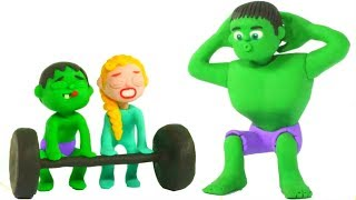 HULK WORKOUT & TRAINING PROGRAM ❤ Spiderman, Hulk & Frozen Elsa Play Doh Cartoons For Kids
