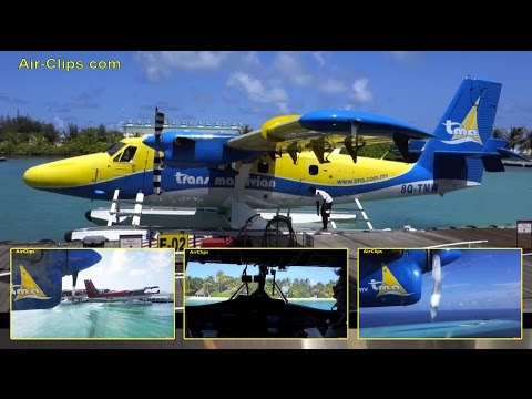 Trans Maldivian Airways COCKPIT flights in Twin Otter Floatplane [AirClips FullFlight series]