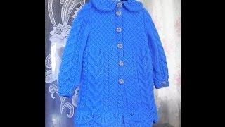 Пальто для девочки спицами. Часть 4 - вяжем воротничок