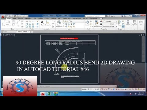 90 DEGREE LONG RADIUS BEND 2D DRAWING IN AUTOCAD TUTORIAL #46