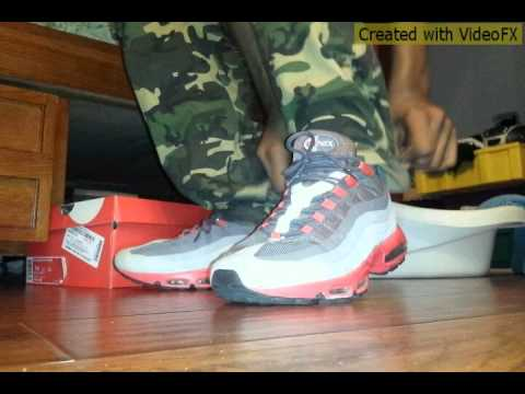 5b11757c3800 ... Nike Air Max 95 No Sew Red Grey Black and White On Foot ...