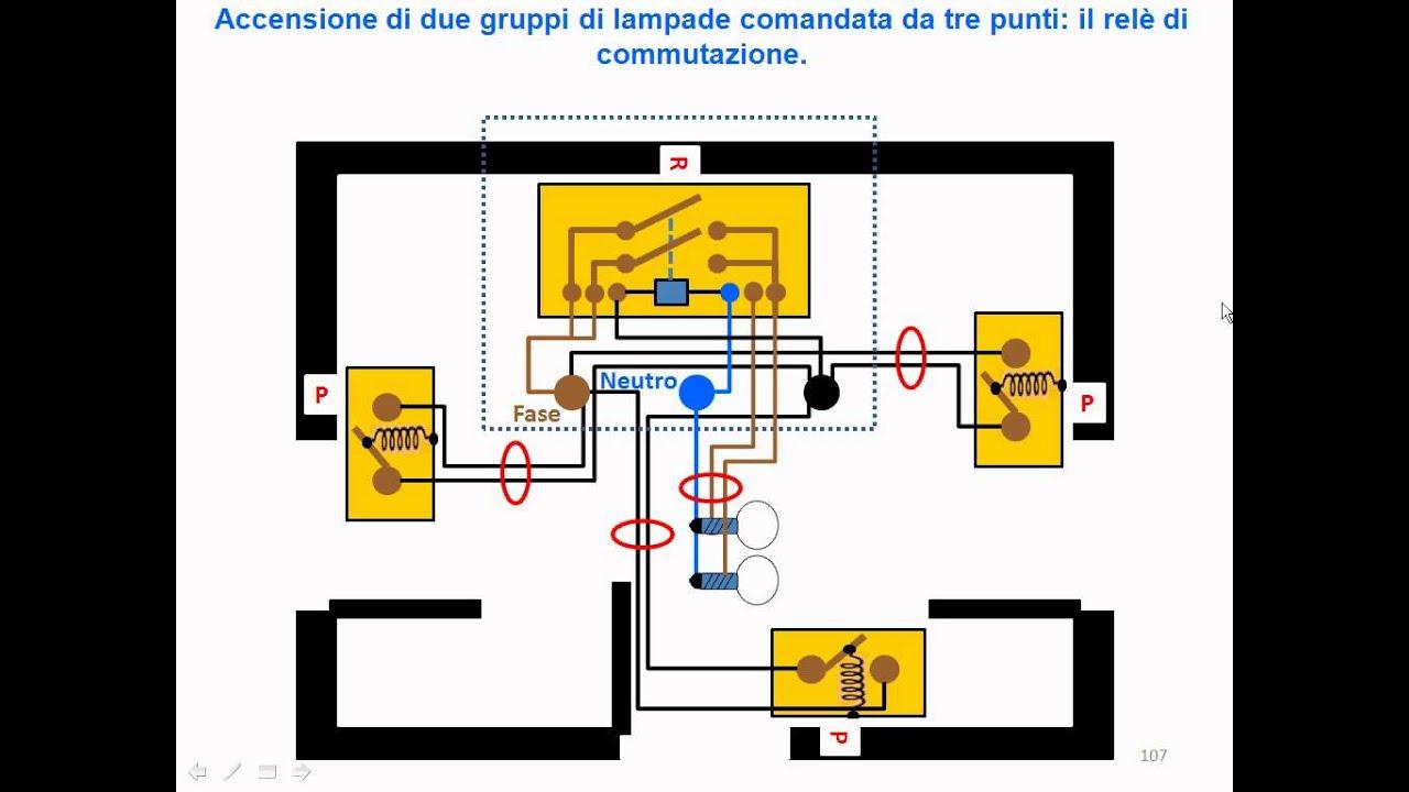 Schema Elettrico Per 4 Punti Luce : T rele commutazione piu punti youtube