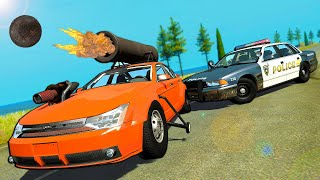 Cannon Car is the Ultimate TROLL Car Against Police! - BeamNG Drive Police Chases & Crashes