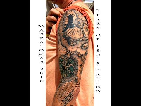 Antique map tattoo sleeve - Gran Canaria 2016