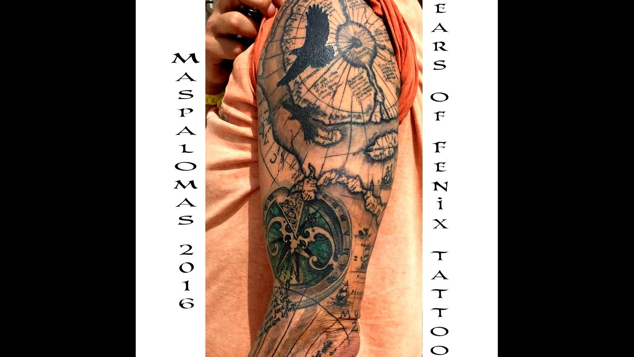 Antique Map Tattoo Sleeve Gran