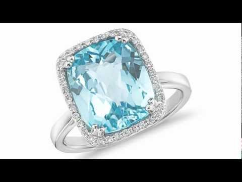 Cushion-Cut Sky Blue Topaz and Diamond Ring in 14k White Gold - Jewelry