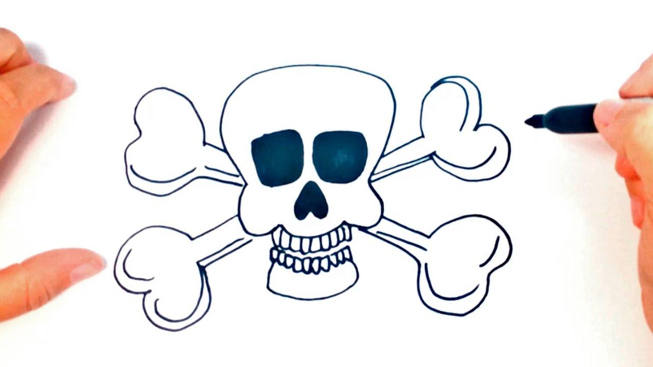 Como dibujar una Calavera Pirata paso a paso  Dibujo fcil de