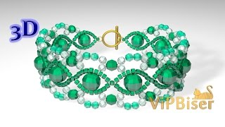 Beaded Emerald Bracelet. 3D Tutorial