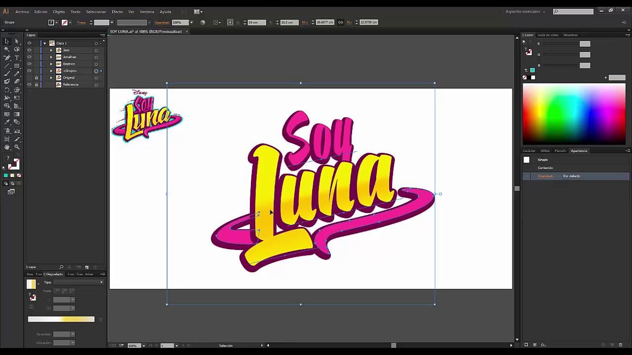Logo Soy Luna - Usando una plantilla de FACIL EDICION en Illustrator ...