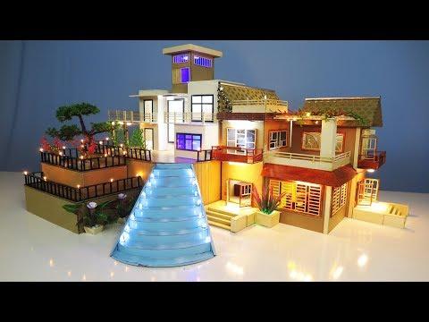 2 DIY Miniature Mansion House with LED Light compilation ~ Living room ~ Kitchen room ~ Bed room etc