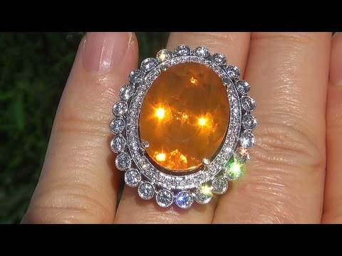 Gia Certified Vvs Natural Mexican Fire Opal Diamond 14k