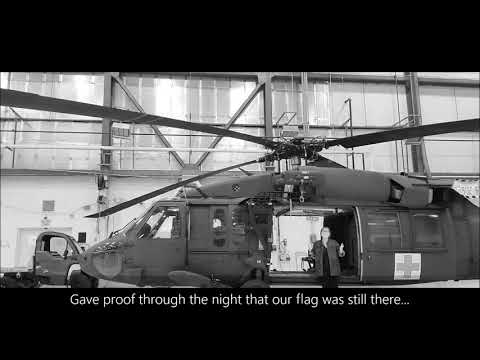 National Anthem Sung Like a Prayer by Army Wife alone in Army Hanger with Blackhawk