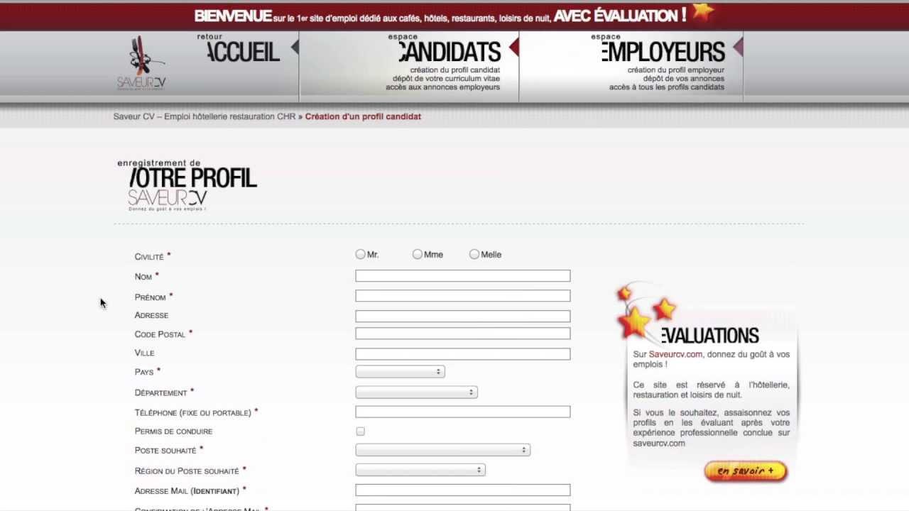 candidat  u00e0 l u0026 39 emploi dans l u0026 39 h u00f4tellerie  restauration comment s u0026 39 inscrire sur saveur cv