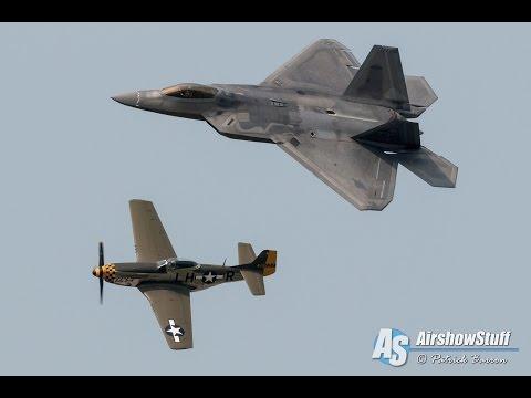 F-22 Raptor/P-51 Mustang Formation - USAF Heritage Flight - Battle Creek Airshow 2015