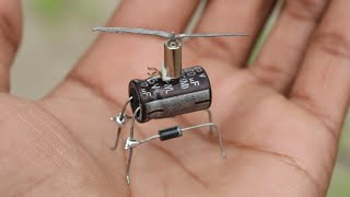 how to make Vibrating Helicopter -  with Capacitor || mini flying drone