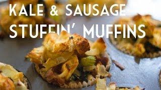 Thanksgiving Recipe: Kale Sausage Stuffing Muffins | Total Noms