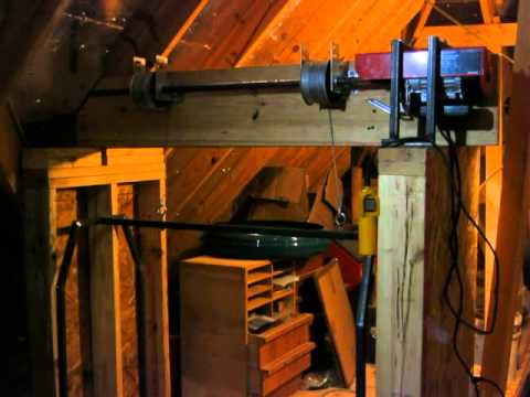 Home made garage attic lift hoist elevator dumb waiter for Diy home elevator plans