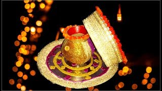 karwa, chhalni and pooja thali decoration at home for karwa chauth -very easy decoration- Tuber Tip