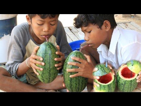 Amazing Watermelon Juice Idea - Smart Boys Make A Watermelon Juice In My Village