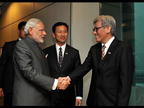 PM Modi arrives at Changi Airport in Singapore