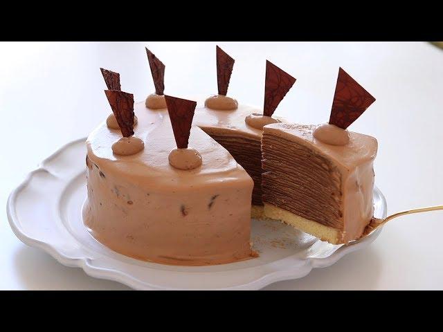 チョコレート・ミルクレープの作り方 Chocolate Mille Crepe Cake HidaMari Cooking