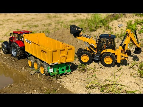 BRUDER Trucks construction TRACTORs sand work! Action video for RC fans!
