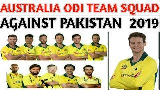 Australia ODI Team Squad Against Pakistan 2019 | Australia Squad  | Australia Tour of Pakistan 2019