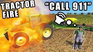 ITS TOTALED! THE JOHN DEERE 8R STARTED ON FIRE WHILE PLANTING | FARMING SIMULATOR 2017