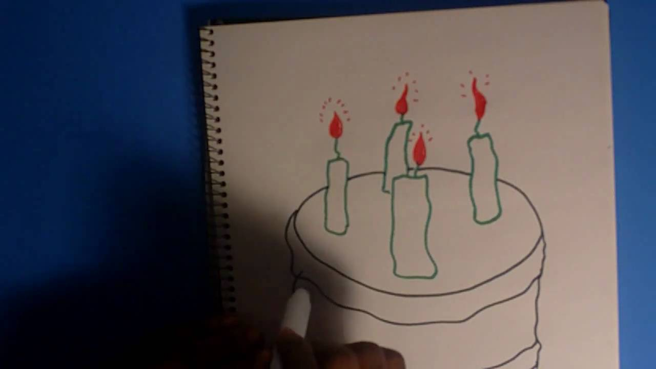 How To Draw Cake Images : How To Draw a Birthday Cake and Candles - YouTube