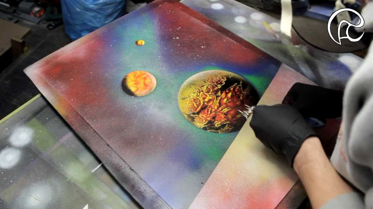 Space City Spray Paint Art By Ren Schell Youtube
