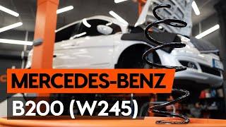 Montavimo priekyje ir gale Amortizatoriaus atrama MERCEDES-BENZ B-CLASS: vaizdo pamokomis