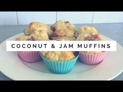 Easy Coconut and Jam Muffins - Simple Kitchen