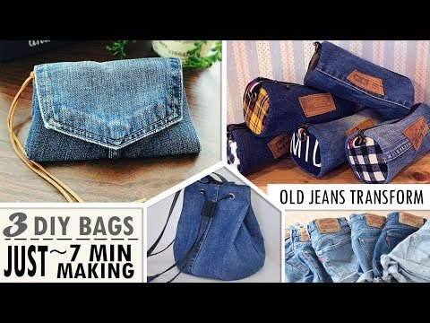 3 MOST FASTEST DESIGN DIY PURSE BAG FROM OLD JEANS // Sweet Pouch You Can Easy Do