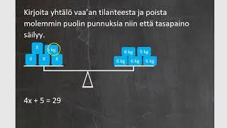 Kurssi 3: Luvuista kirjaimiin, osa7: Yhtälön ratkaiseminen