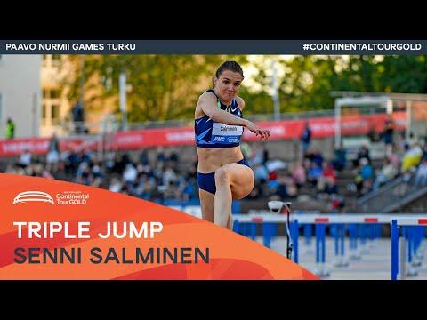 Senni Salminen jumps Finnish triple jump record 14.51m   Paavo Nurmi Games Turku