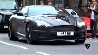 (Matte Black) Aston Martin DBS Coupes & Volante in London! Exhaust Sounds!