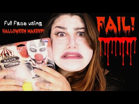 FULL FACE USING ONLY HALLOWEEN MAKEUP! | FAIL!