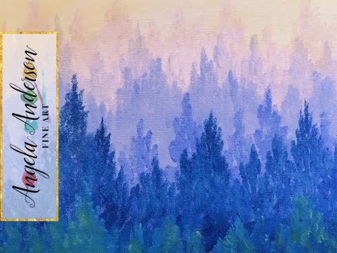 Misty mountain ombre pine forest acrylic painting for for Mural inspiration