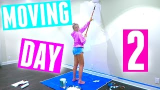 TRYING TO PAINT MY NEW ROOM! MOVING DAY 2 | HeyItsSarai
