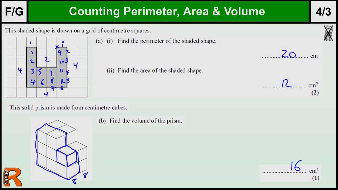Perimeter, Area, Volume GCSE Maths Foundation revision Exam paper ...