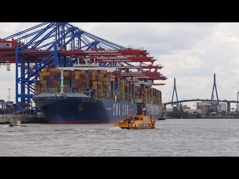 Hamburg, Germany: Waltershof, Harbor, container ships, passenger boat - 4K UHD Video Image