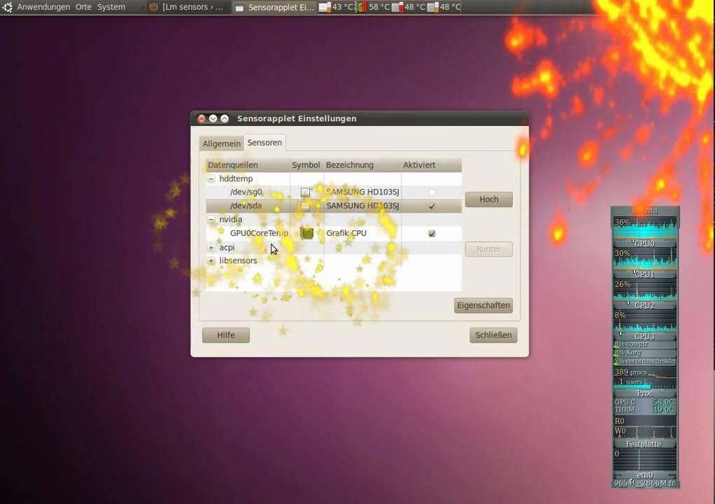 Ubuntu 10 04 Temp Sensor CPU HDD GPU
